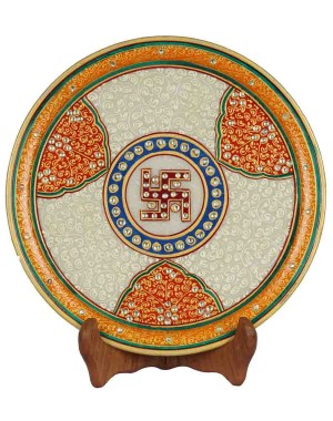Marble Painting Decorative Plate HH162