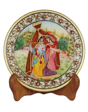 Marble Plate With Radha Krishna Painting HH165