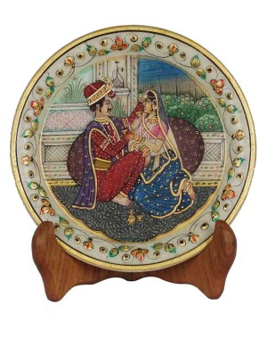 Marble Plate With Raja Rani Painting HH167