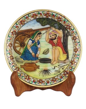 Marble Plate With Village Scene Painting HH168