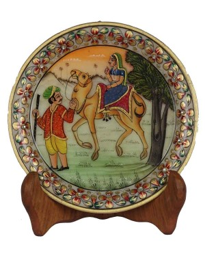Marble Plate With Village Scene Painting HH169