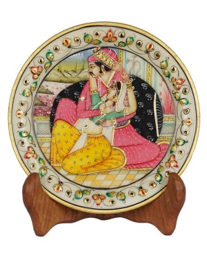Marble Plate With Raja Rani Painting HH170