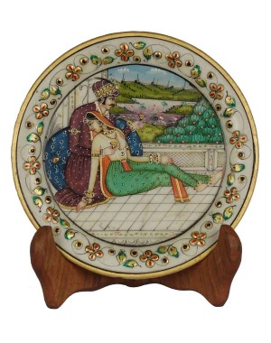Marble Plate With Raja Rani Painting HH171