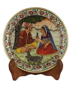 Marble Plate With Village Scene Painting HH172