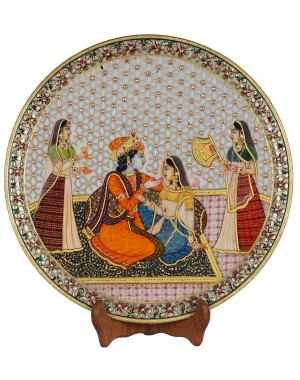 Marble Plate With Radha Krishna Painting HH177