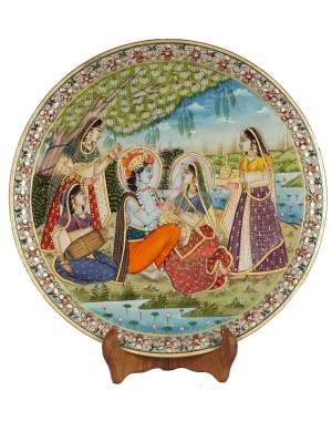Marble Plate With Radha Krishna Painting HH178