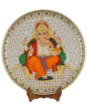 Marble Ganesh Painting Decorative Plate HH179