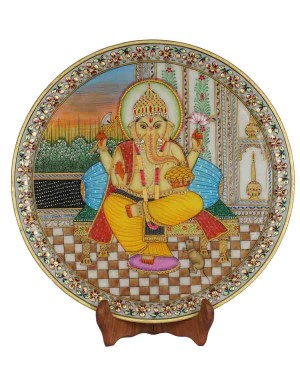 Marble Ganesh Painting Decorative Plate HH180