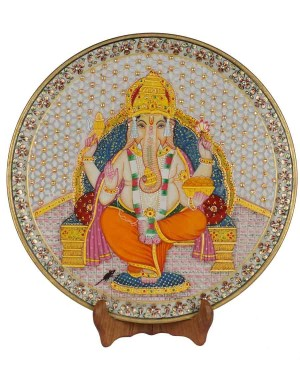 Marble Ganesh Painting Decorative Plate HH181