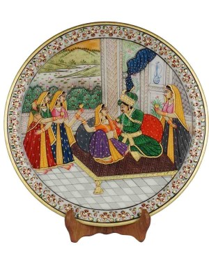 Marble Plate With Raja Rani Painting HH183