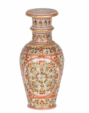 Marble Flower Pot With Painting Work HH193