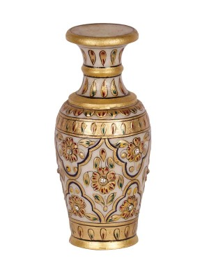 Marble Flower Pot With Painting Work HH194