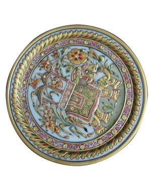 Marble Decorative Plate With Gold Work HH213