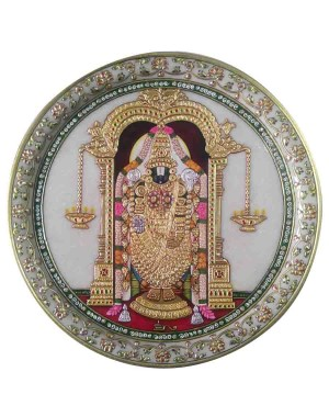 Marble Decorative Plate Of Tirupati Balaji Painting With Gold Work HH216