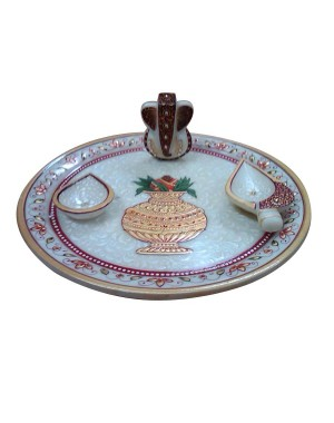 Marble Pooja Thali With Gold Work HH217