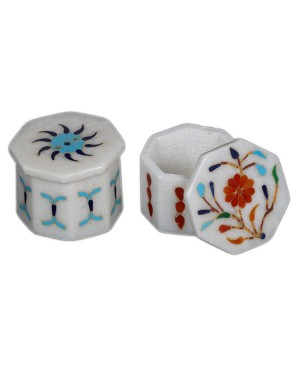 Marble Inlay Work Sindoor Pot KS353