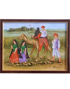 Rabari Family With Couple On Camel Mud Work Painting