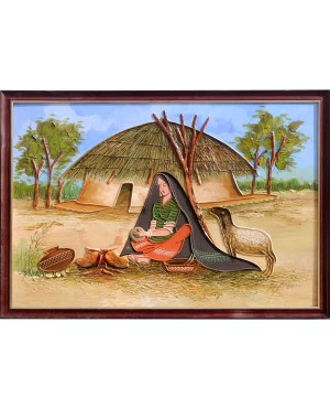 Rabari Lady Cooking Under Blue Sky Mud Work Painting