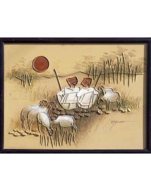 Two Rabari With Six Sheeps RK53