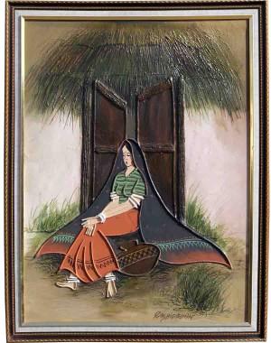 Kutchi Lady At Door Steps In Orange RK61