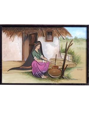 Rabari Lady Doing Household Cores RK74