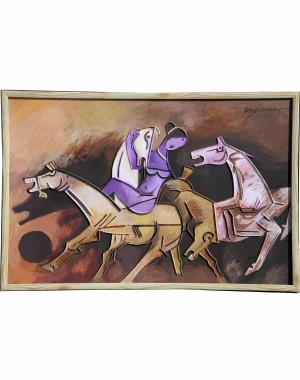 Abstract Lady In Violet And Horses RK80