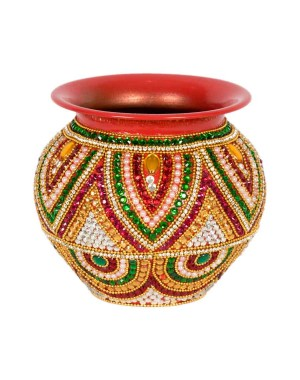 Shree Collection Copper Kalash With Stone Work SC7
