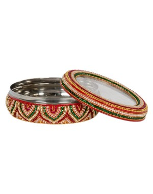 Shree Collection Steel Dibba With Transparent Lid(Stone Work) SC 22