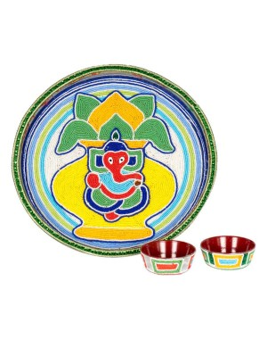 Shree Collection Pooja Dish(Moti Work) SC27