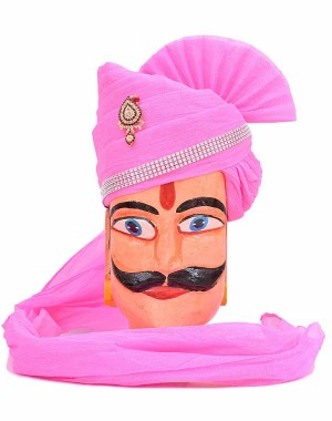Rajasthani Pink Single Color Safa MS27