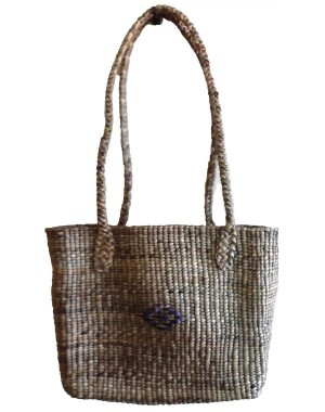Brown Square Normal Weave Water Hyacinth Bag