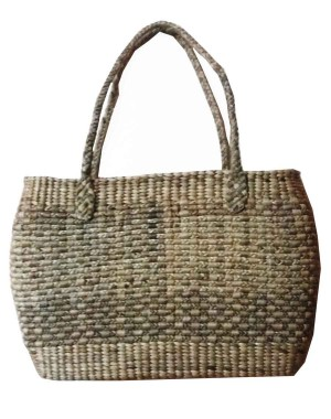 Brown Oval Rope Large Water Hyacinth Bag