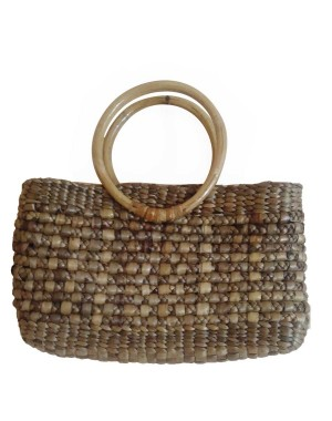 Brown Square Rope Cane Handle Water Hyacinth Bag