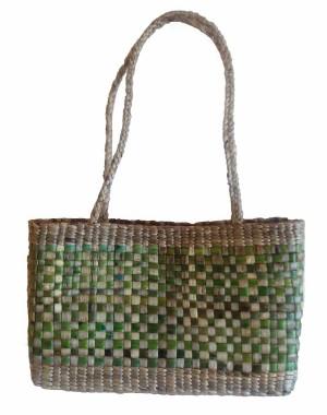 Green Rectangle Large Mat Water Hyacinth Bag