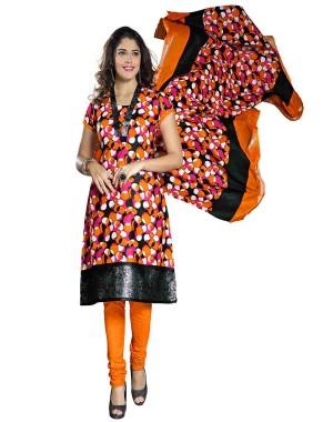 Black And Orange Color Printed Dress Material 03