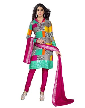 Pink With Multi Color Printed Dress Material 05