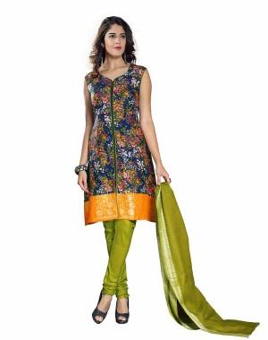 Orange And Green Color Block Printed Dress Material 09