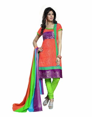 Green And Orange Color Printed With Gold Embroidery Dress Material 14