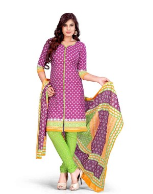 Purple And Green Color Printed With Gold Embroidery Dress Material 15