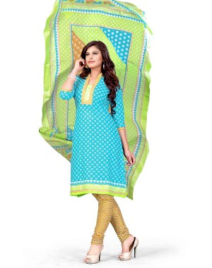 Green And Blue Color Printed With Gold Embroidery Dress Material 16
