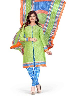 Green And Blue Color Printed With Gold Embroidery Dress Material 18