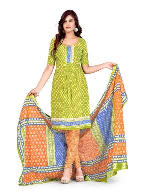 Green And Orange Color Printed With Gold Embroidery Dress Material 19