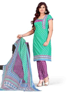 Green And Purple Color Printed With Gold Embroidery Dress Material 24