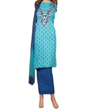 Blue Mirror Work Embroidery Dress Material 25