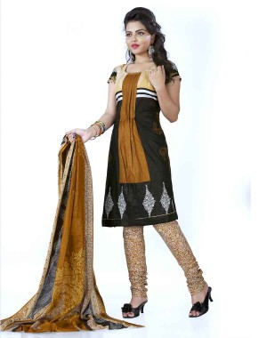 Beige And Brown Color Cotton Printed Dress Material 43
