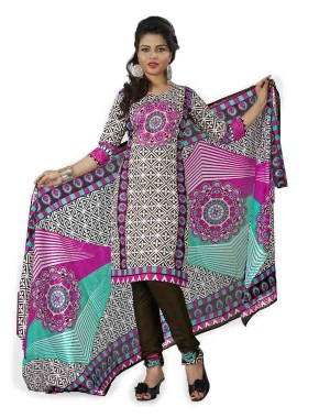 White And Brown Color Cotton Printed Dress Material 44