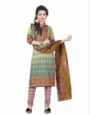 Beige And Brown Color Cotton Printed Dress Material 45
