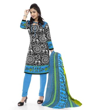 Blue And Black Cotton Printed Dress Material 60