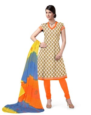 Orange And Beige Cotton Printed Dress Material 63
