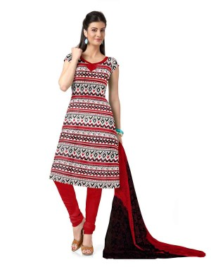 Red And Black Cotton Printed Dress Material 67